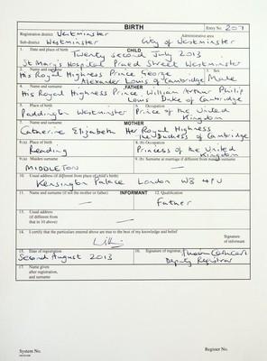 Принц Уильям зарегистрировал рождение своего сына