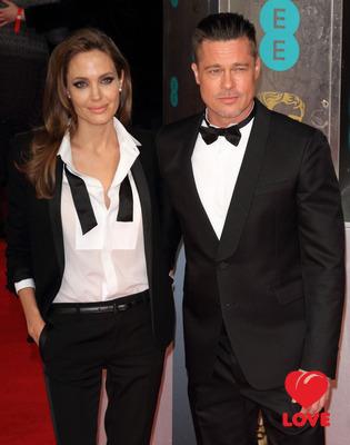 Брэд  Питт и Анджелина Джоли оделись одинаково на BAFTA-2014