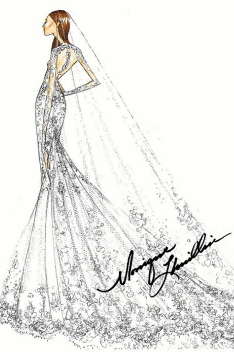 Эскиз свадебного платья от Моник Люлье