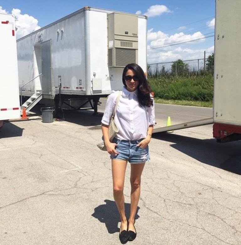 Меган Маркл на съемочной площадке сериала «Форс-мажоры» / Suits