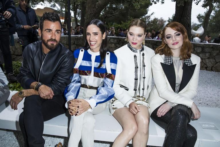 Джастин Теру, Дженнифер Коннелли, Леа Сейду и Эмма Стоун на показе Louis Vuitton