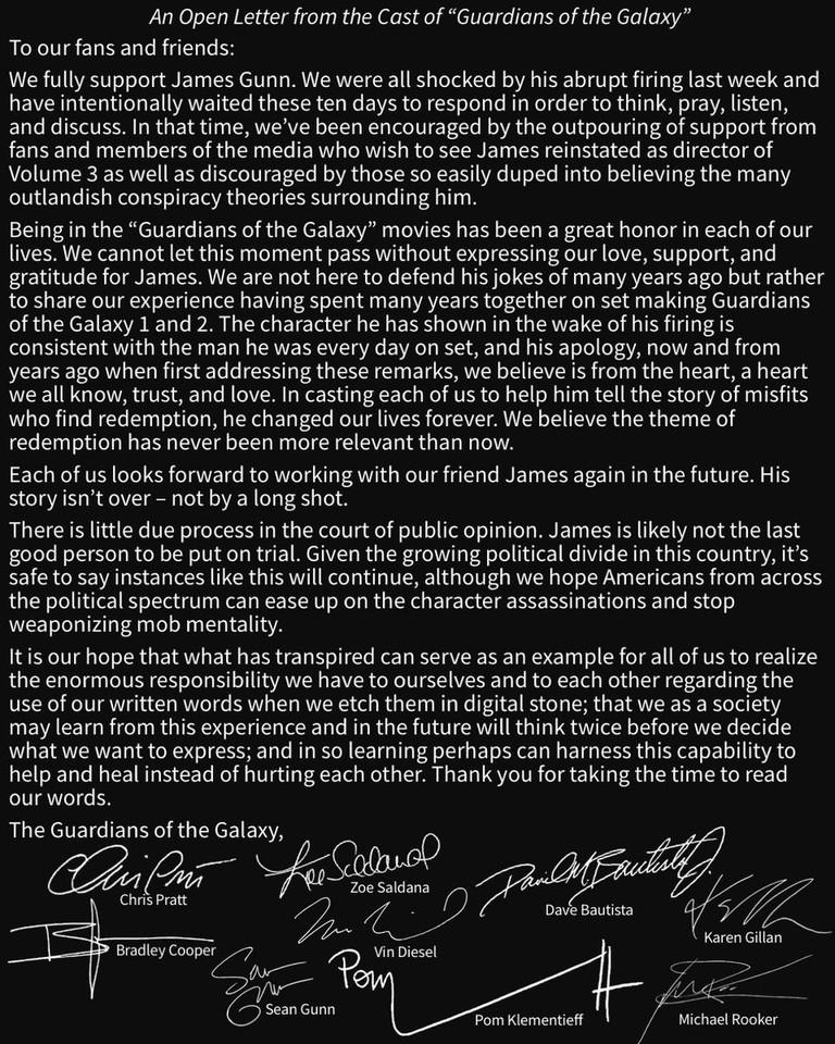 Звезды «Стражей Галактики» написали открытое письмо