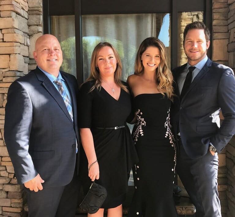 Крис Пратт, Кэтрин Шварценеггер и Калли Пратт с женой