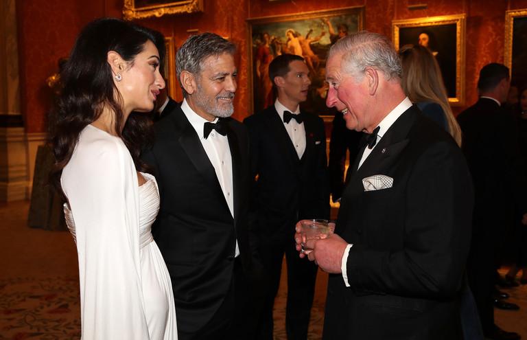 Амаль и Джордж Клуни с принцем Чарльзом
