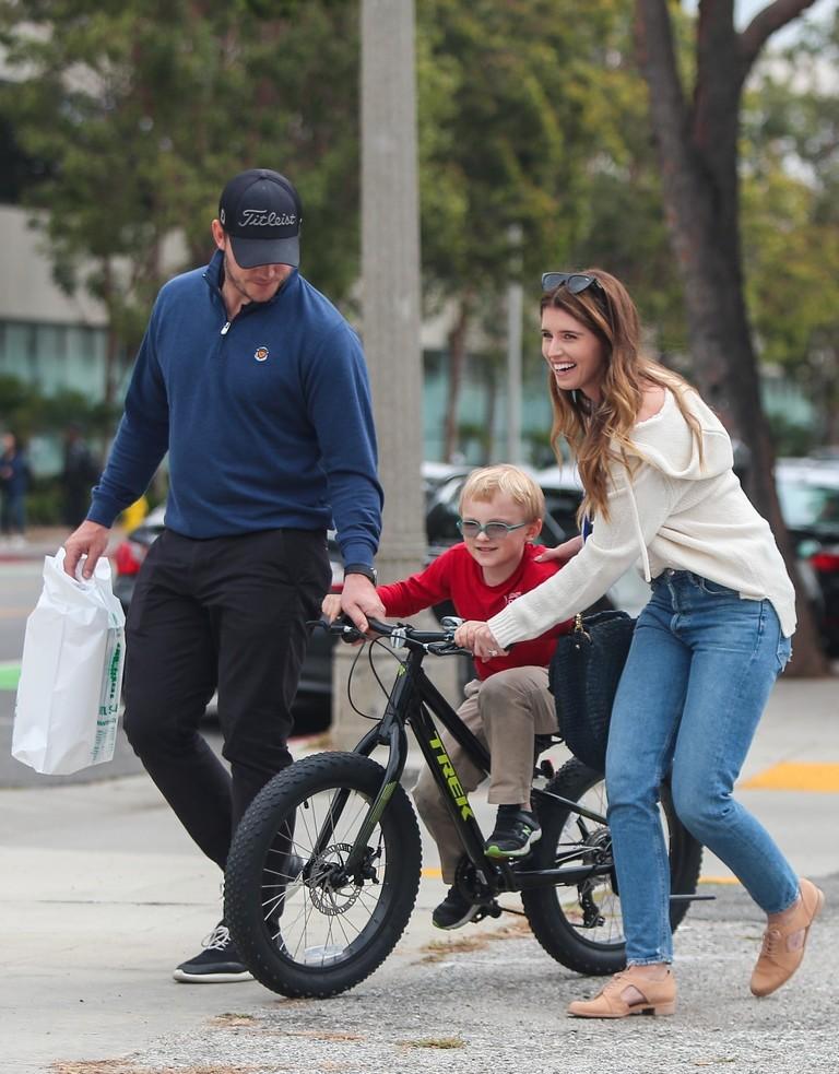 Крис Пратт с сыном Джеком и Кэтрин Шварценеггер
