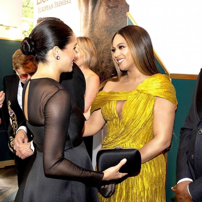 Меган Маркл и Бейонсе на премьере «Короля Льва»
