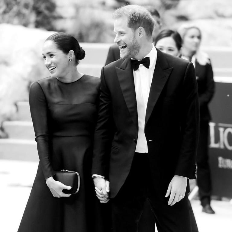 Меган Маркл и принц Гарри на премьере «Короля Льва»